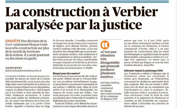 La construction à Verbier paralysée par la justice