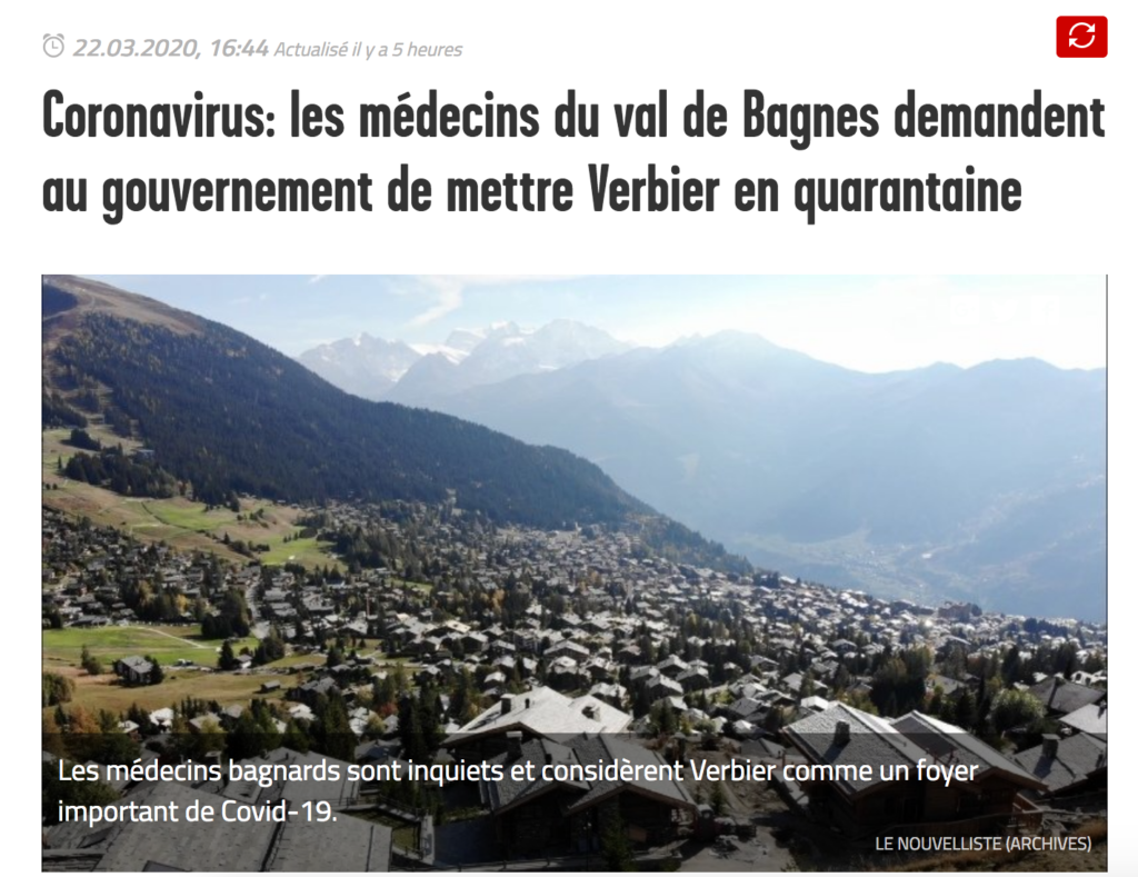 Coronavirus: Bagnes Valley Doctors Ask the Government to Quarantine Verbier